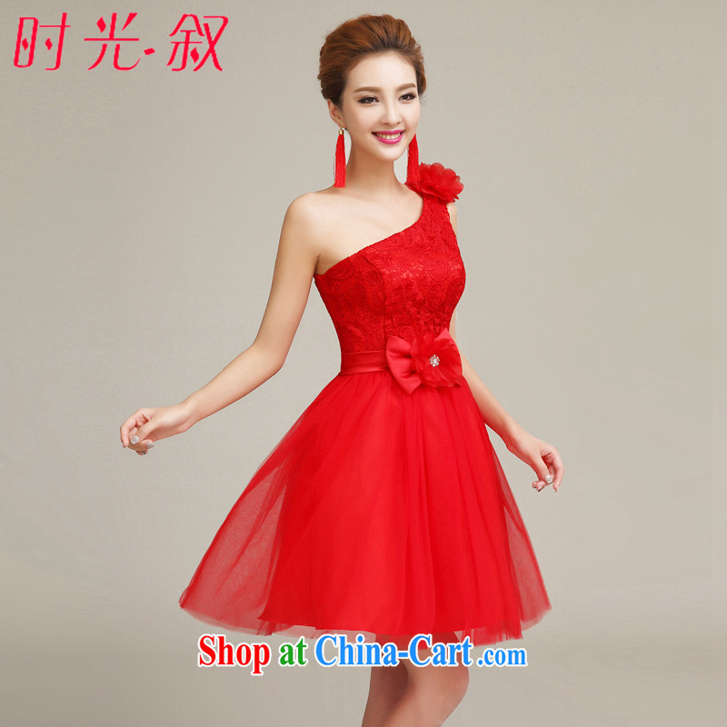 Time his small red dress uniform toasting bride short stylish short Evening Dress ball dress bridal toast serving the shoulder the saffron bowtie XXL