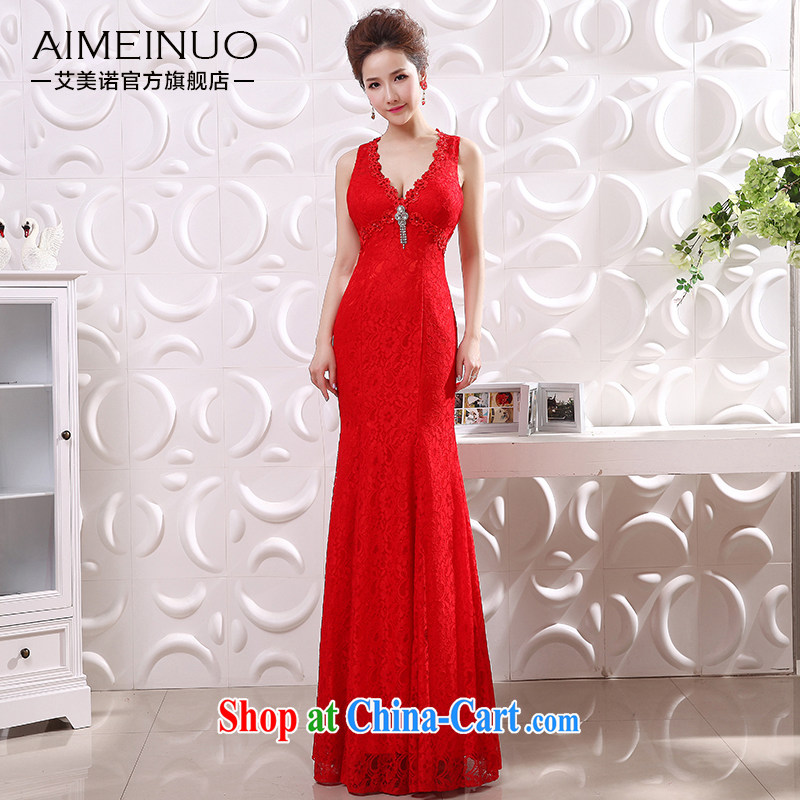 The United States and the bridal dresses 2015 new packages and crowsfoot graphics thin sexy V collar shoulders back exposed lace flowers show dress L 0048 red XL code (waist 2.2)