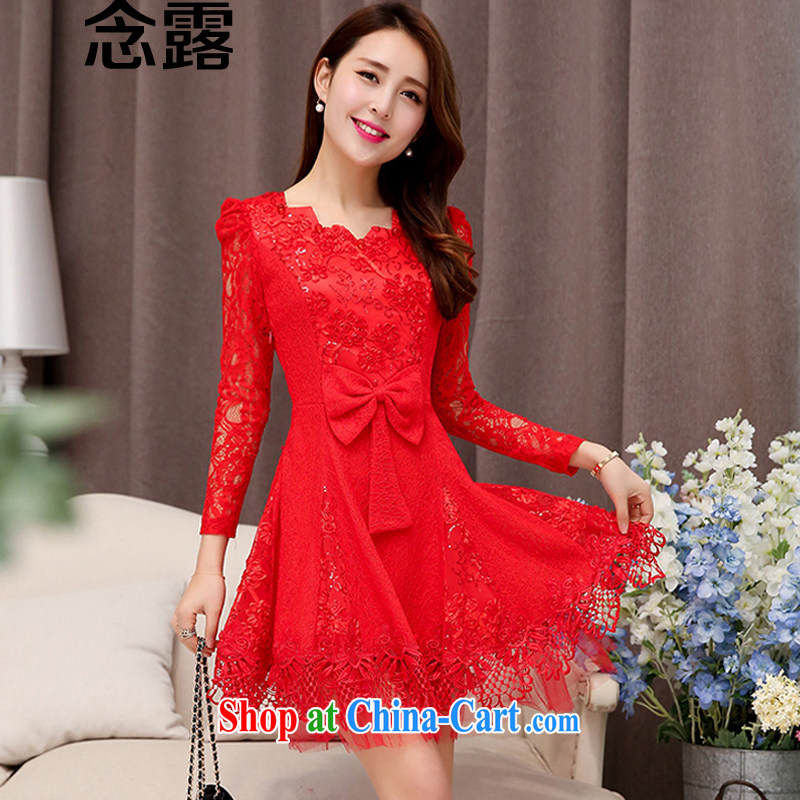 Read terrace spring 2015 autumn female new Korean style sweet temperament beauty bowtie lace solid dress married women dinner will short skirt small dress red XXL