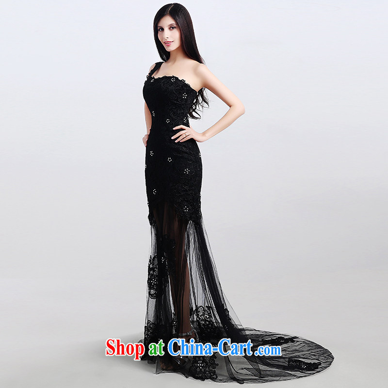 Code hang bridal dresses 2015 new black Korean bridesmaid Evening Dress evening dress stylish straps long, long skirt stylish cultivating pure color erase chest dress black L