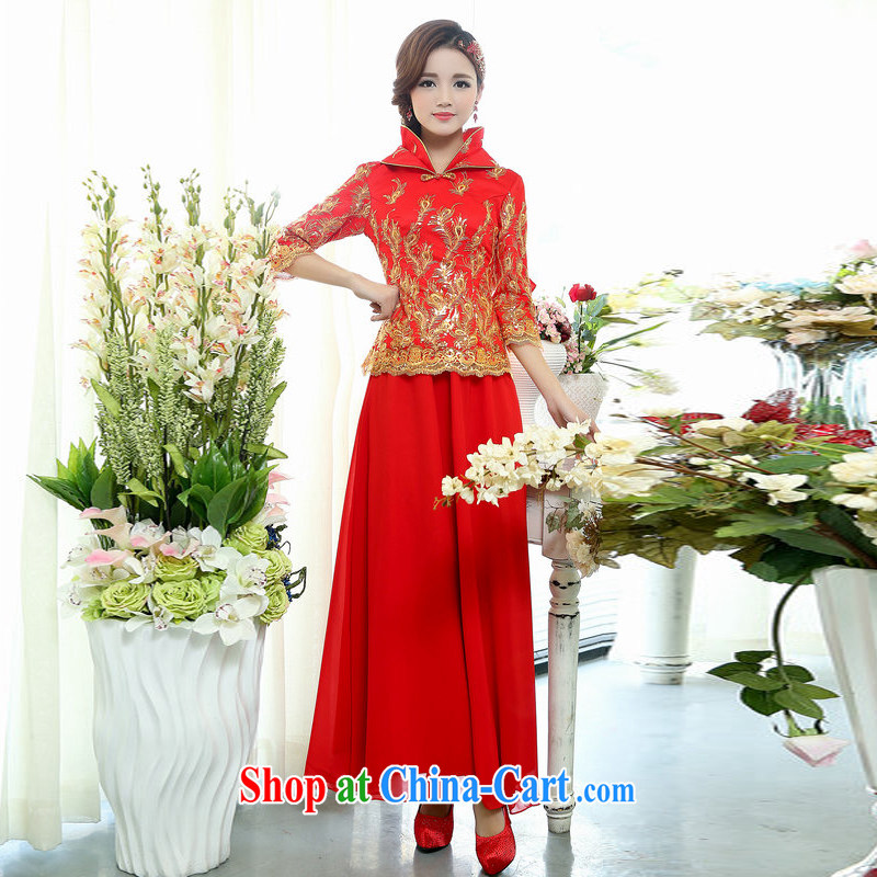 New original Chinese wind bridal 7 sub-cuff high collar Lace Embroidery, national dress body long skirt kit, cultivating two-piece dress gold 3XL