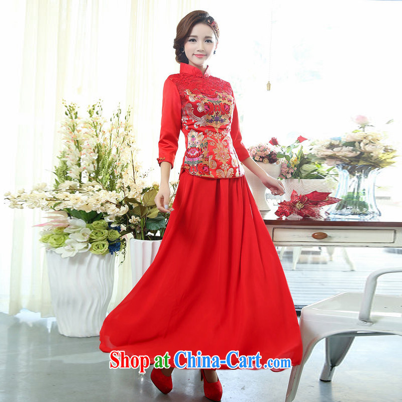 New China wind 7 a bride cuff with lace embroidery, ethnic retro dress body long skirt kit, cultivating two-piece dresses fluoro red 3XL