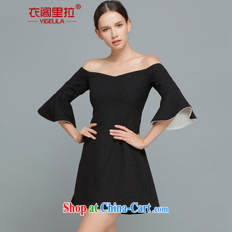 Yi Ge lire a field for your shoulders style dress skirt the temperament, thick short sleeve dress short skirt black 6463 XL
