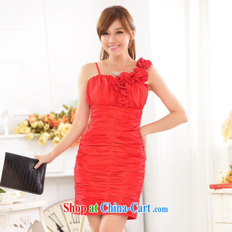 September 9722 dress evening reception packs and high-end-of-yuan The shoulder sister bridesmaid dress short red dress blue are code