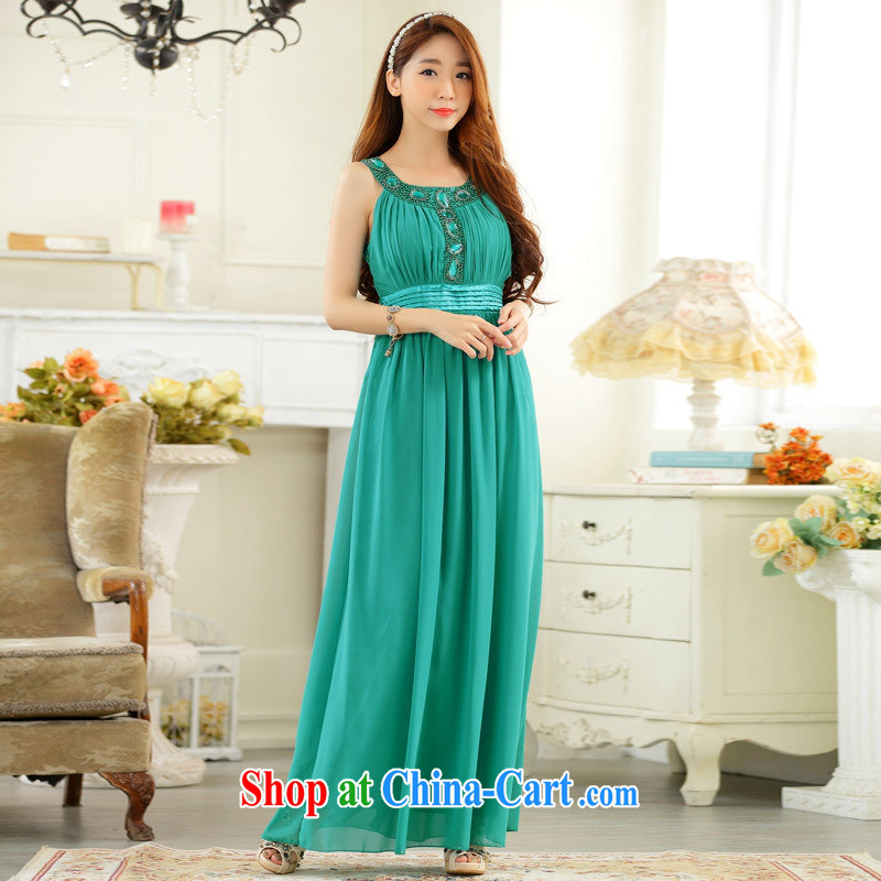 September 9627 dress #high-end, shoulder a purely manual staple the Pearl Light drill long dress snow woven dresses green is code
