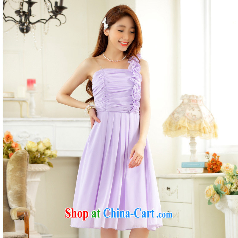 September 9831 dress _stylish wedding season sister skirt edge fungus the shoulder-waist snow woven large code dress in dress dresses purple are code