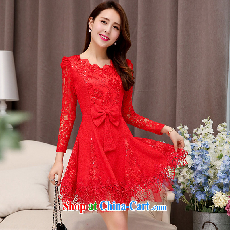 Caesar 241 brides and sprinkle with back-door service stitching lace 9 long-sleeved Openwork sleeves, with round-collar dress Annual Meeting banquet ball Evening Dress red XXL