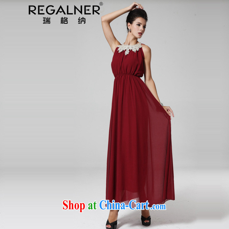 Ryan, 2015 dress skirt covered shoulders metal collar side adorn the waist large and Long skirts dresses wine red L