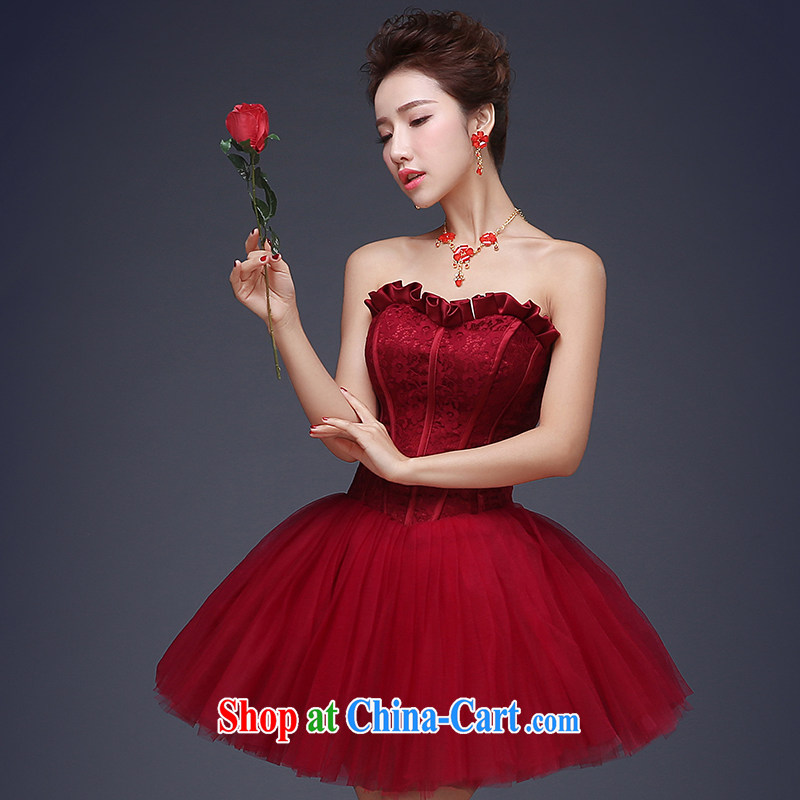 Wei Qi toast service 2015 new summer wiped chest short small dress wine red bridal wedding banquet dress female wine red S