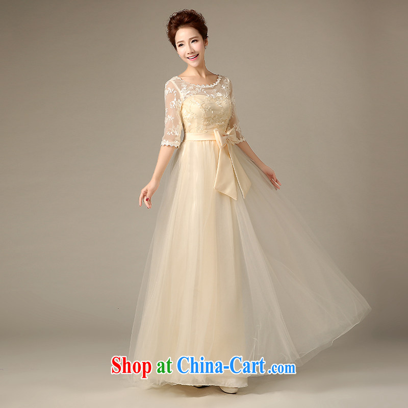 Sophie HIV than long bridesmaid clothing summer wedding dresses champagne color dual-shoulder lace bridesmaid mission Small dress Evening Dress champagne color XXL