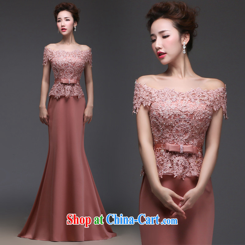 Art 100 Su Ge 2015 new dress uniform toast the Evening Dress bridal wedding wedding banquet long leave of two in the field shoulder beauty and stylish Korean spring drapery rose-colored custom + $30