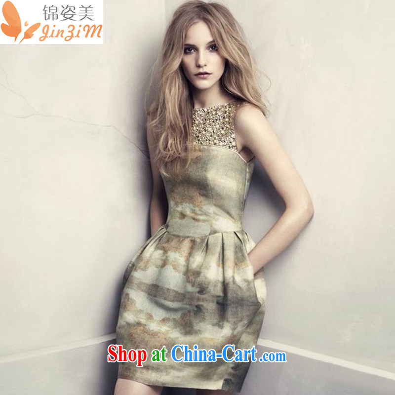 kam beauty new manually staple pearl cultivation video thin retro dyeing sleeveless Paridelles dresses M 3009 are code