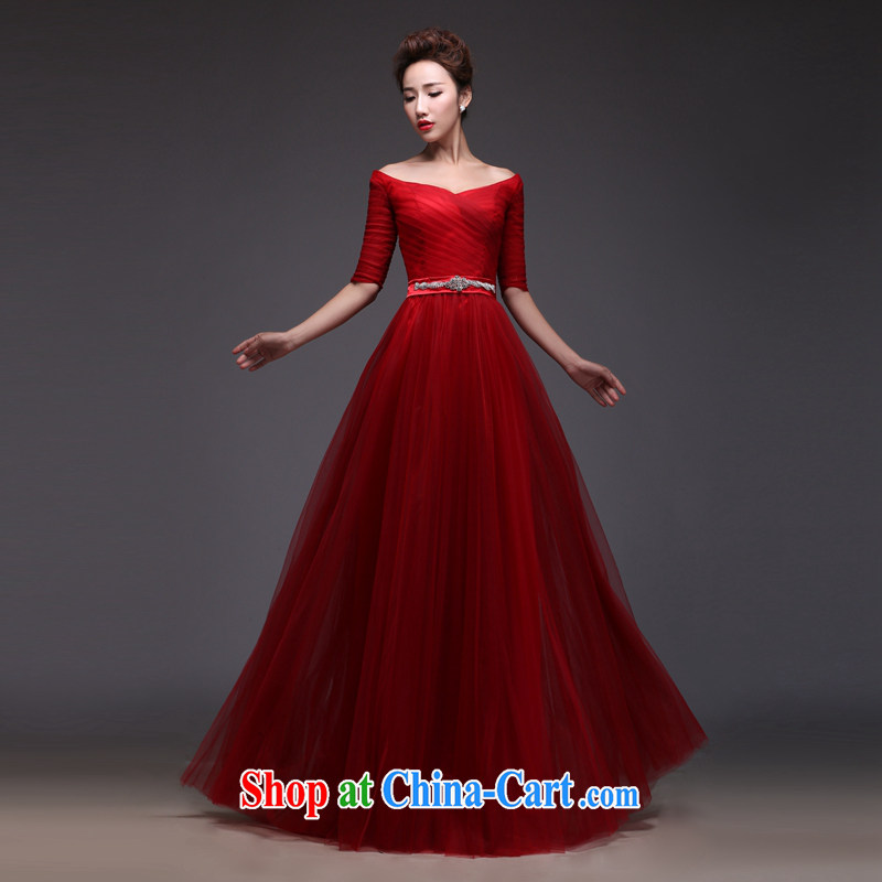 Art 100 Su Ge 2015 new dress uniform toast the Evening Dress bridal wedding wedding banquet wine red long sleeves in V for cultivating modern Korean spring wine red custom + _30