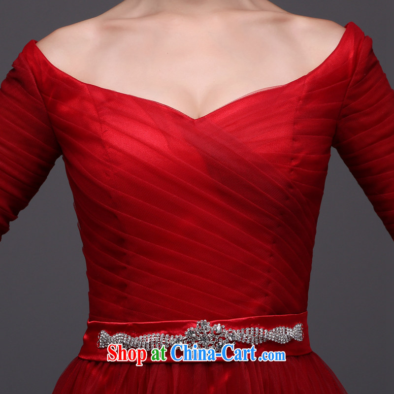 Performing Arts 100 Su Ge 2015 new dress uniform toast the Evening Dress bridal wedding wedding banquet wine red long sleeves in V for cultivating and stylish Korean spring wine red custom + $30, art 100 Su Ge, shopping on the Internet