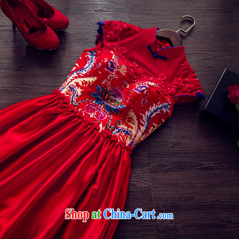 Art 100 Su Ge 2015 spring bows Service Bridal new dress cheongsam dress long retro improved wedding wedding beauty Red Red custom + $30