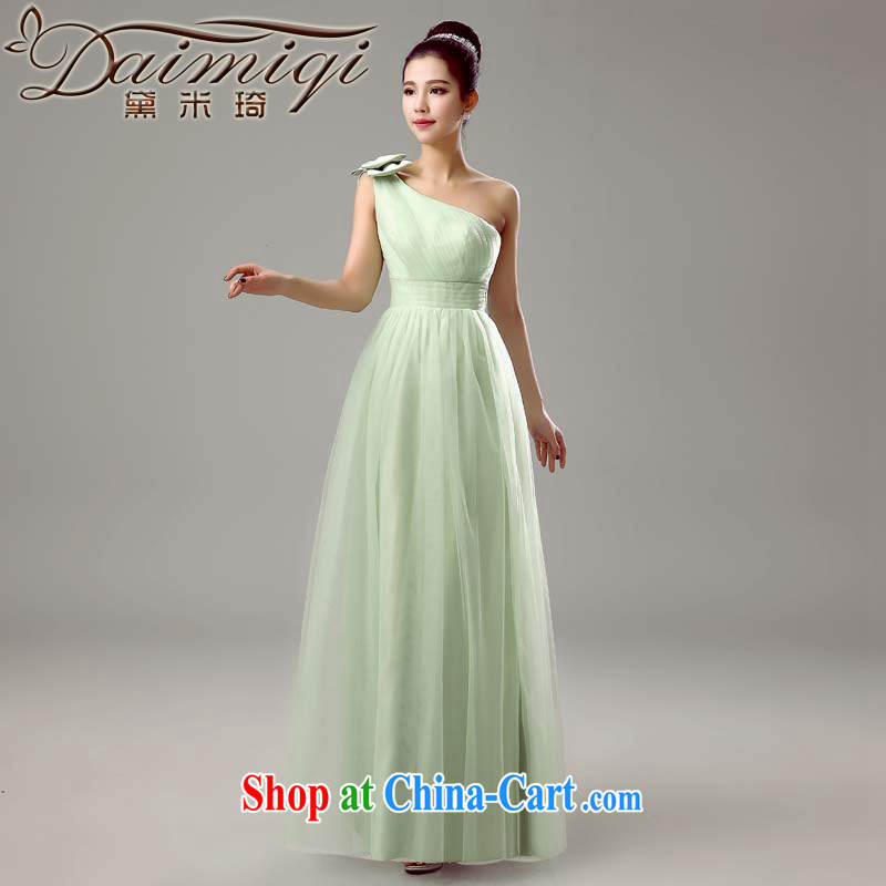 Diane M Qi 2015 new bridesmaid dresses in spring and summer long bridesmaid sisters served as marriage show service beauty bridesmaid dress female fruit Green single shoulder, XXL