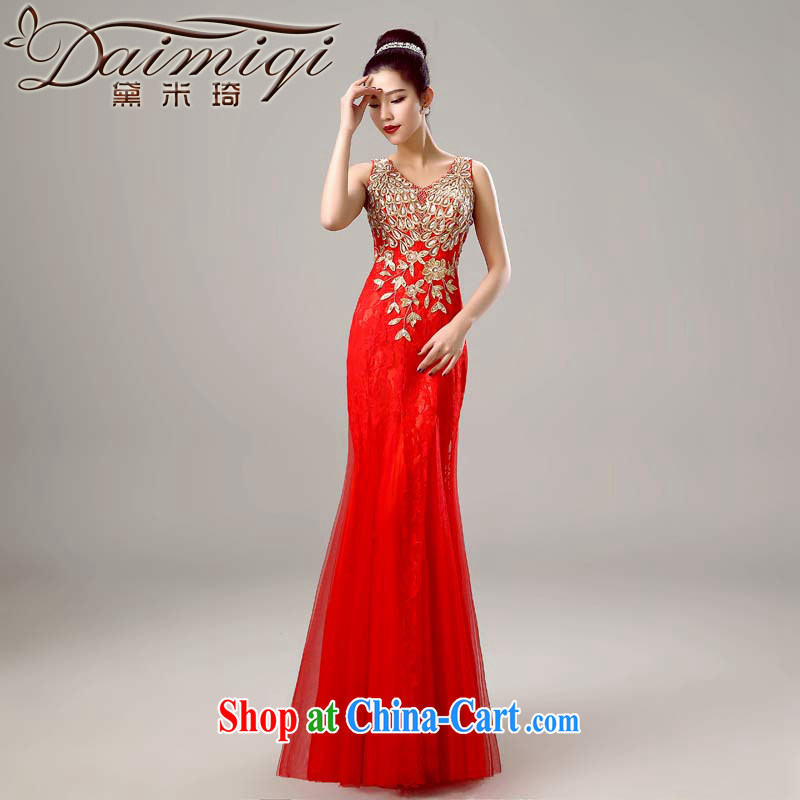 Diane M Qi 2015 new shoulders V collar red long wedding dresses bridal toast serving long marriage dress red XXL