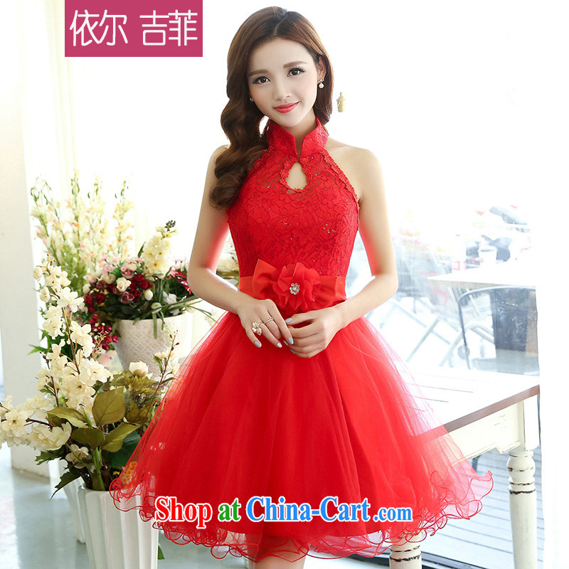 In Kyrgyzstan, Philippines 2015 spring new stylish wedding dress bridal toast clothing lace European root yarn retro beauty shaggy dress red XL