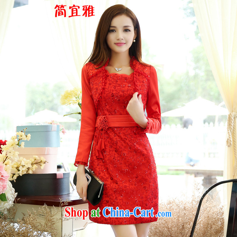 To be brief, spring 2015 new female elegant red brides with long-sleeved skirt Set Two Piece Set Red XXXL