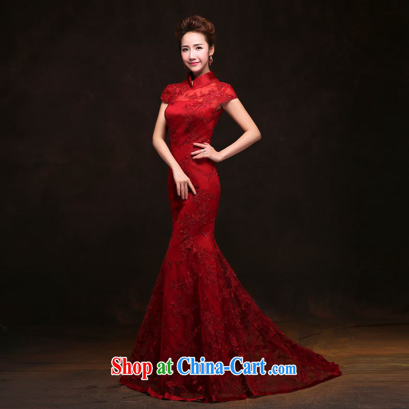 Performing Arts 100 Su-ge 2015 wedding dresses Fall Winter New Long back exposed bridal dresses serving toast retro lace wine red cheongsam red custom + _30