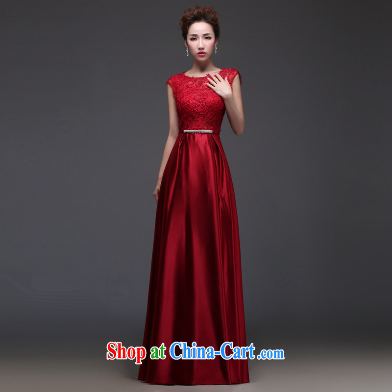 Art 100 Su Ge marriages bows dress 2015 new wedding dresses water-soluble lace sexy Long Red Beauty and stylish evening dress spring and summer wine red custom + $30