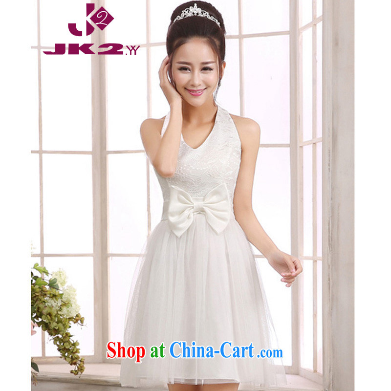 JK 2. YY won on graceful scarf covered shoulders lace V collar high waist Web yarn short bridesmaid banquet small dress sister skirt white L