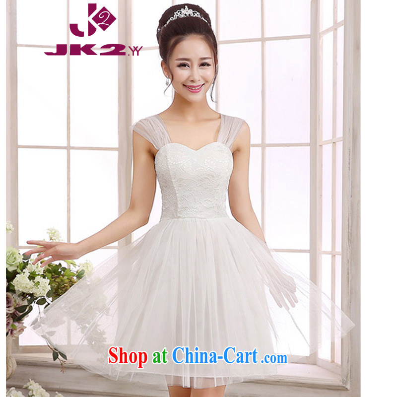 The package mail Korean Beauty shoulders bare shoulders high waist lace spell Web yarn short bridesmaid dresses the dresses white M