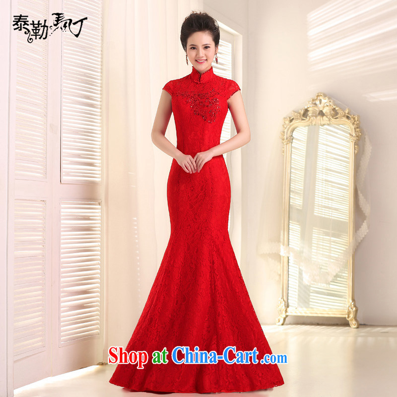 Taylor Martin 2015 new marriages served toast, red collar lace beauty at Merlion dress annual evening dress long red XL
