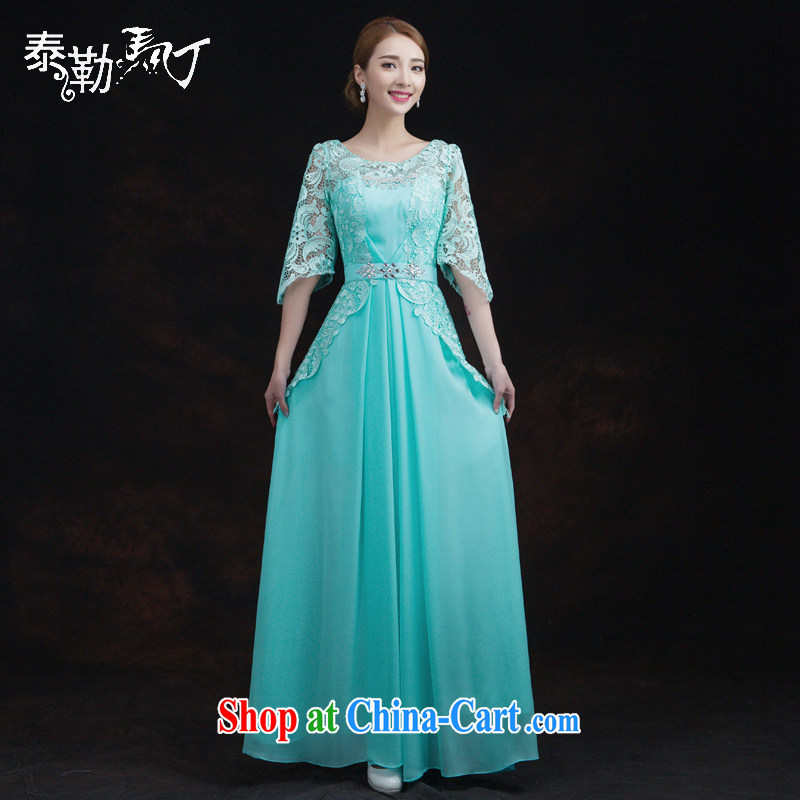 Taylor Martin multi-color new bridal wedding dresses long sleeves in the collar lace bows Service Annual Meeting banquet dress cyan XL