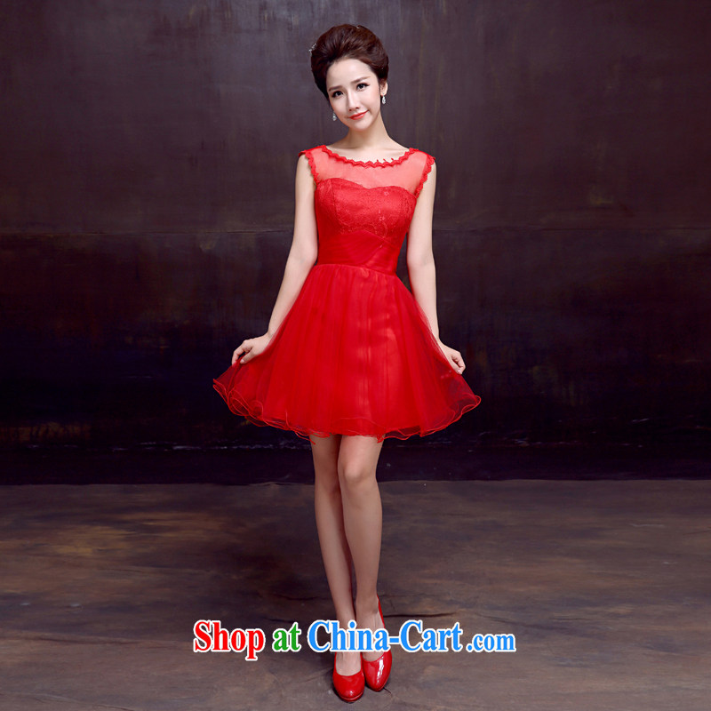 The married Yi wedding dresses new 2015 double-shoulder bridal toast dress marriage short red small white dresses XXL