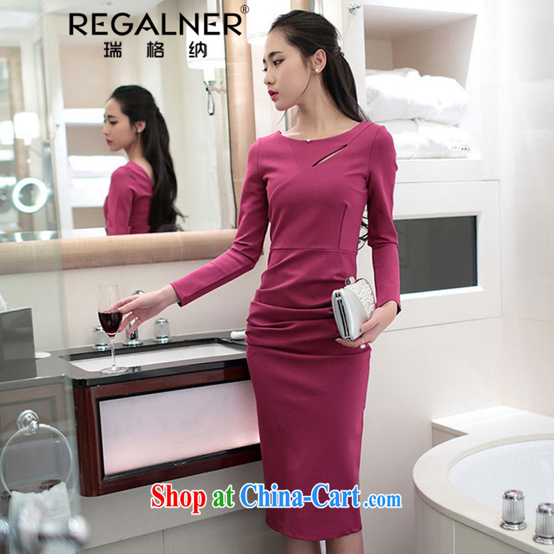 Ryan, the 2015 spring and summer new Korean style beauty sexy long-sleeved back exposed solid dress Openwork the forklift truck dress long skirt of red L