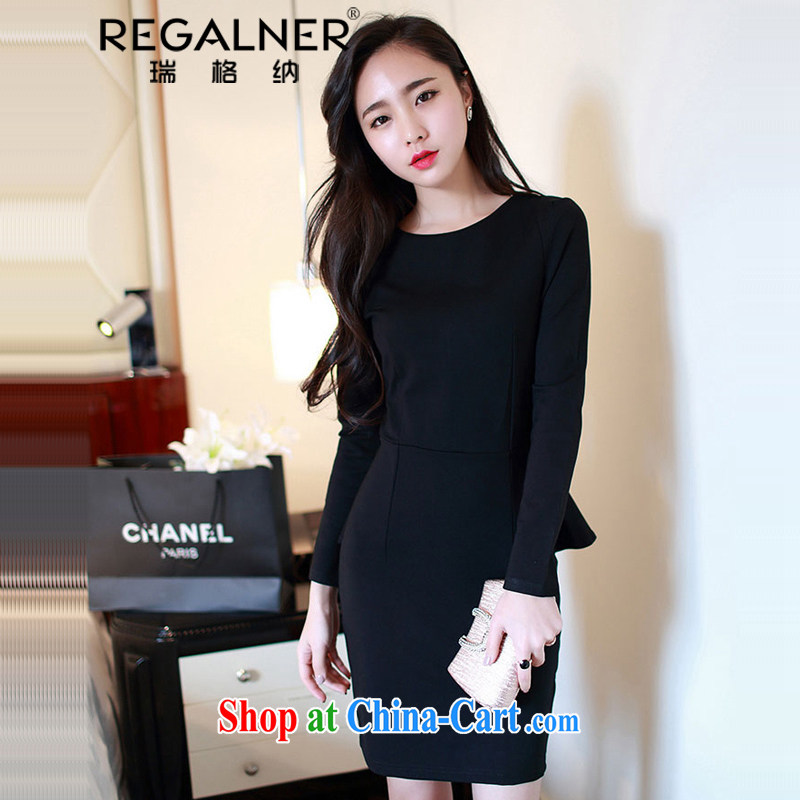 Ryan, the 2015 spring and summer new Korean long-sleeved sexy elegant beauty skirt solid thick dress red wedding dress black XXL