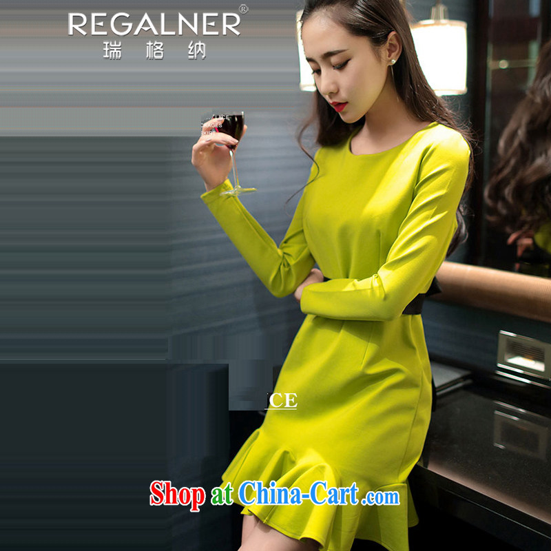 Ryan, the 2015 Spring and Autumn female New Name Yuan appointment dress thick long-sleeved sexy package and lady solid dresses fluorescent yellow L
