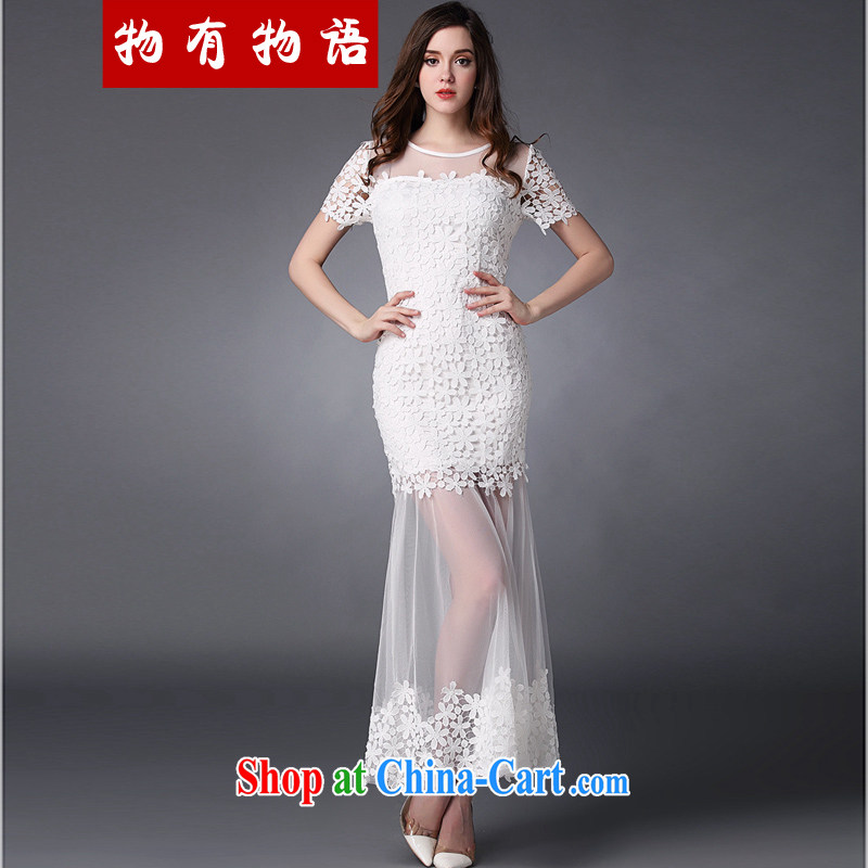 A property, bridesmaid service 2015 spring and summer new female water-soluble lace flower stitching Web yarn goddess level toast dress uniform dress white L
