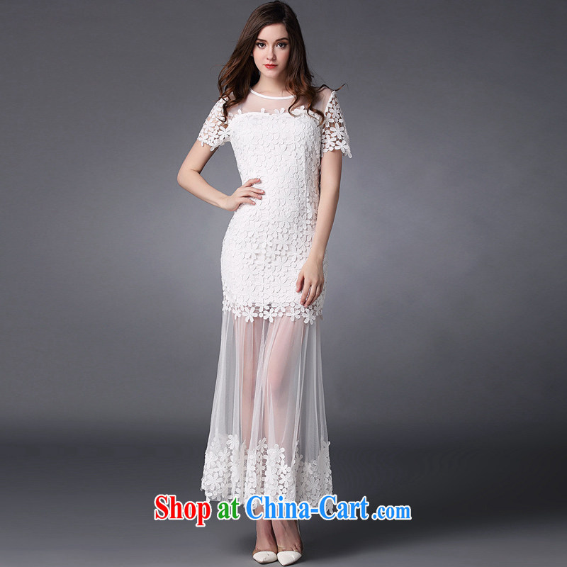 Property is property, accompanied by Madame service 2015 spring and summer new women water-soluble lace flower stitching Web yarn goddess level bows dress uniform dress white L, property, language (wuyouwuyu), online shopping