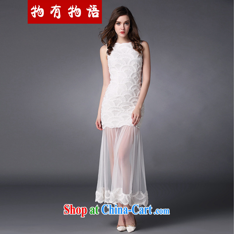 Property is property, white toast service 2015 spring and summer new women take the web yarn strap goddess aura long skirt sister bridesmaid serving long dress white L