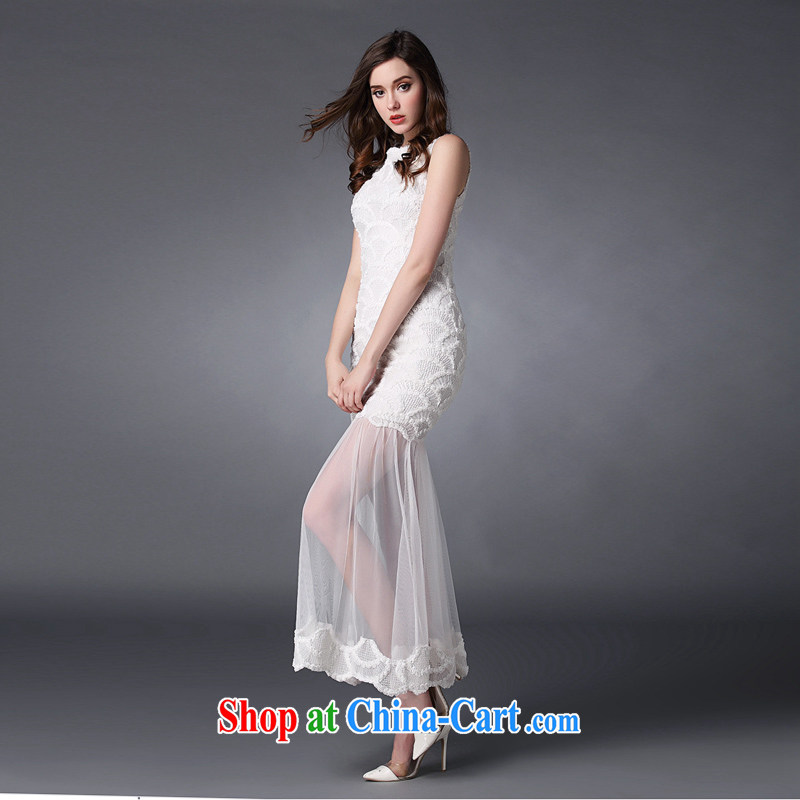 Property is property, white toast service 2015 spring and summer, the girl with the flower Web yarn straps goddess aura long skirt sister bridesmaid serving long dress white L, property, language (wuyouwuyu), online shopping