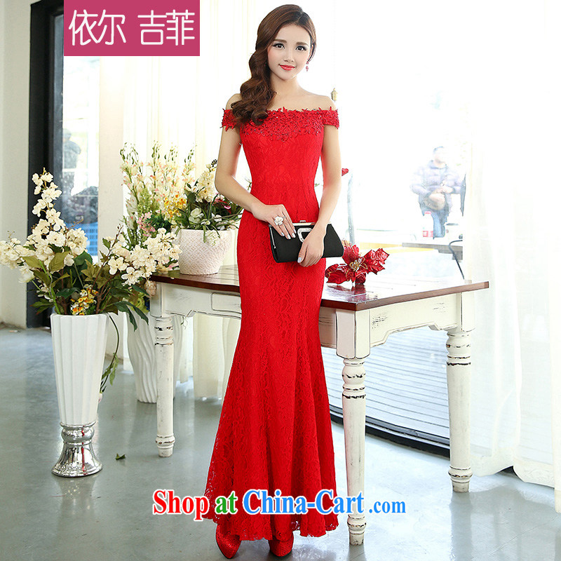 Toasting Service Bridal wedding service 2015 spring and summer new stylish women sense of the word for your shoulders lace crowsfoot long banquet dress red XL