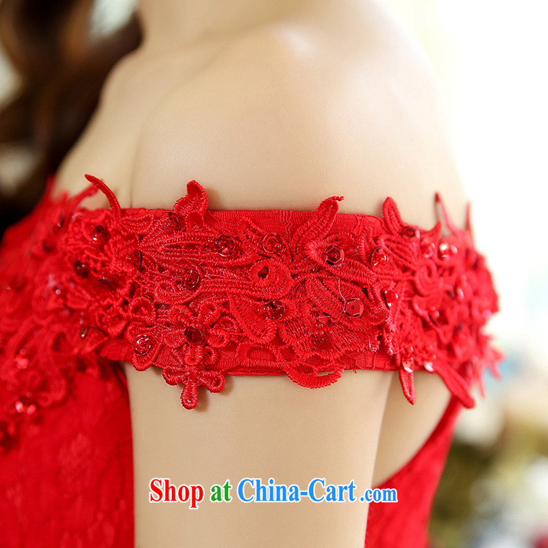 Toasting Service Bridal wedding service 2015 spring and summer new stylish women sense of the word for your shoulders lace crowsfoot long banquet dress red XL, in accordance with, the Philippines (YouR . GF), online shopping