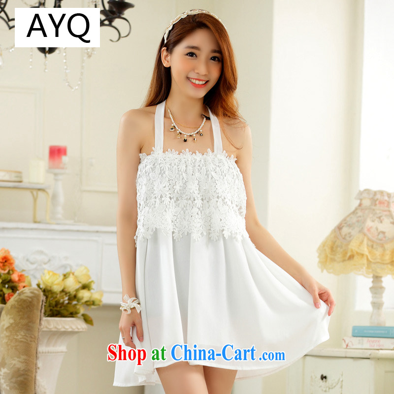 AIDS has been Qi fresh lace straps elasticated terrace shoulder strap with long T-shirt large code t-shirt skirt A 9732 - 1 white XXXL