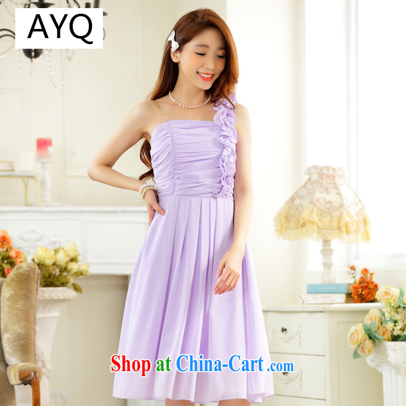 AIDS has been Qi stylish wedding season sister dress fungus single shoulder-waist snow woven large code dress skirt dress A 9831 - 1 purple XXXL