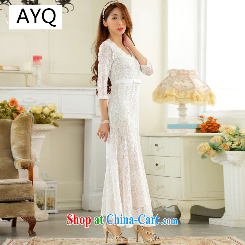 AIDS has been their big high-end lace sexy V collar, long sleeves, the dress code dress A 9731 - 1 white XXXL