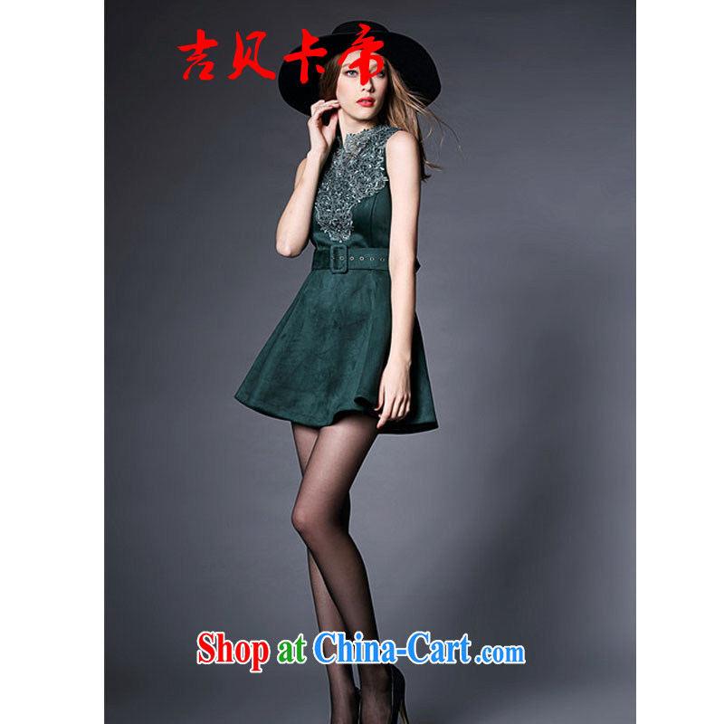 The Bekaa in Europe and America in Dili and the relatively short, small banquet dress female beauty embroidered sleeveless vest dress dark L