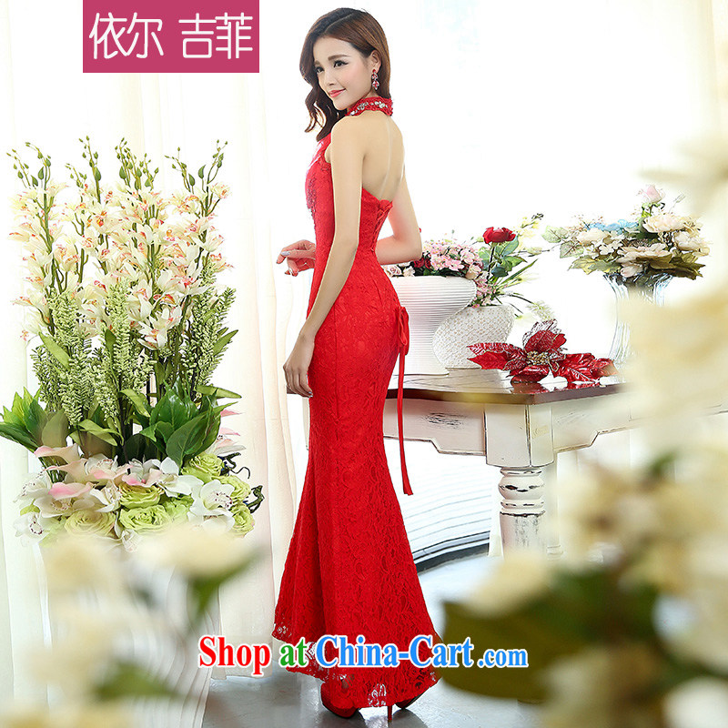 2015 new spring and summer women married with Korean Beauty sexy back exposed elegant evening dress girls' high-end long crowsfoot name aristocratic ladies banquet service red XL