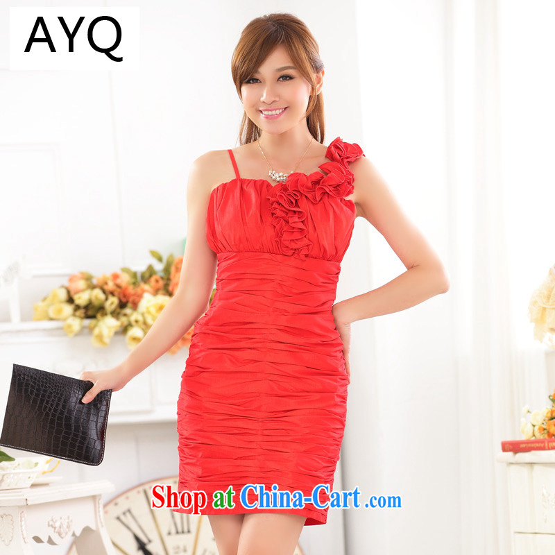 AIDS has been Qi wedding season style single shoulder sister dress dinner appointment cultivating the abdominal pack and dress dresses 9722 A - 1 red XXXL