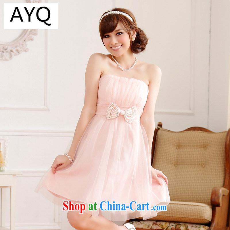 AIDS has been Qi sweet sister dress Bead Chain bowtie thin waist Web yarn end chest shoulder dress dresses 9712 A - 1 pink XXXL