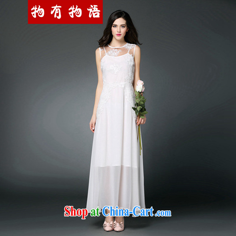 A property, 2015 new women's clothing to the embroidery lace stitching softness the goddess aura long skirt bridesmaid dress uniform toast serving white L