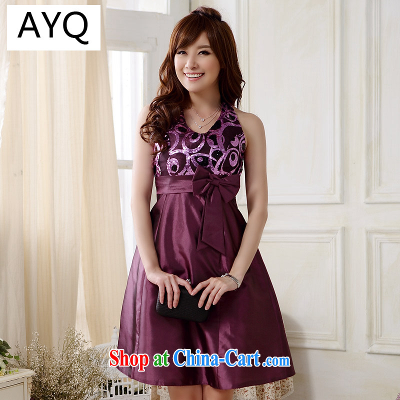 AIDS has been Qi Dinner in Europe and of foreign trade also tied with evening dress sexy V Package for chest-waist small dress dresses 9803 A - 1 purple XXXL