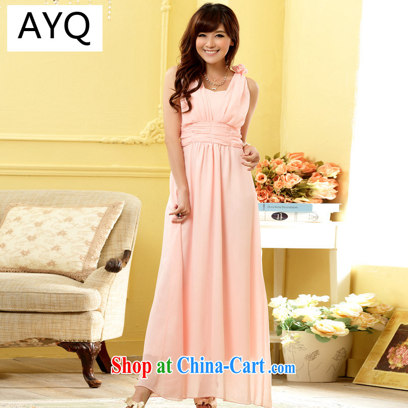 AIDS has been Qi Hong Yeon sweet sister skirt waist-high graphics manual shoulder take V collar gown dress 9807 A - 1 pink XXXL
