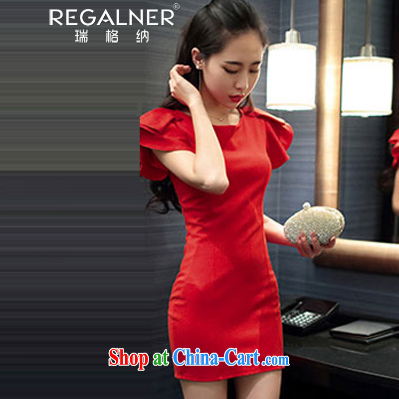 Ryan, summer 2015 new female name Yuan Shen flouncing sexy beauty package and dress the dress skirt red L